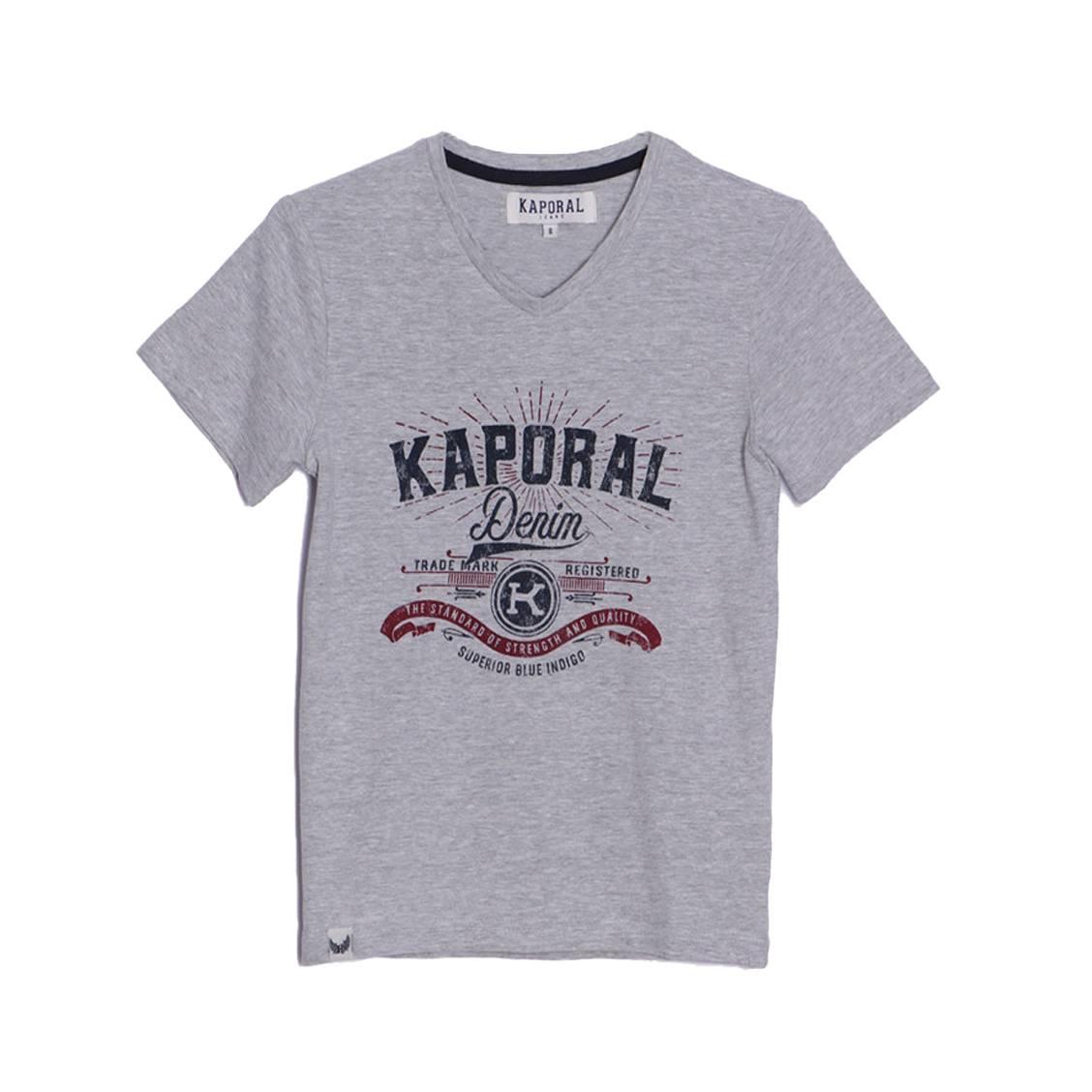 Tee-shirt col v  acros en coton mélangé gris chiné floqué