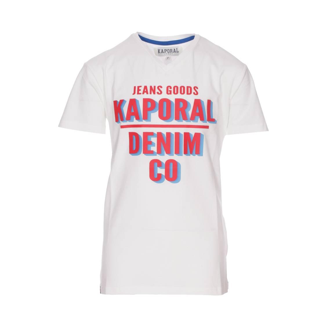 Tee-shirt col v  arrow en coton stretch blanc floqué en rouge et bleu azur