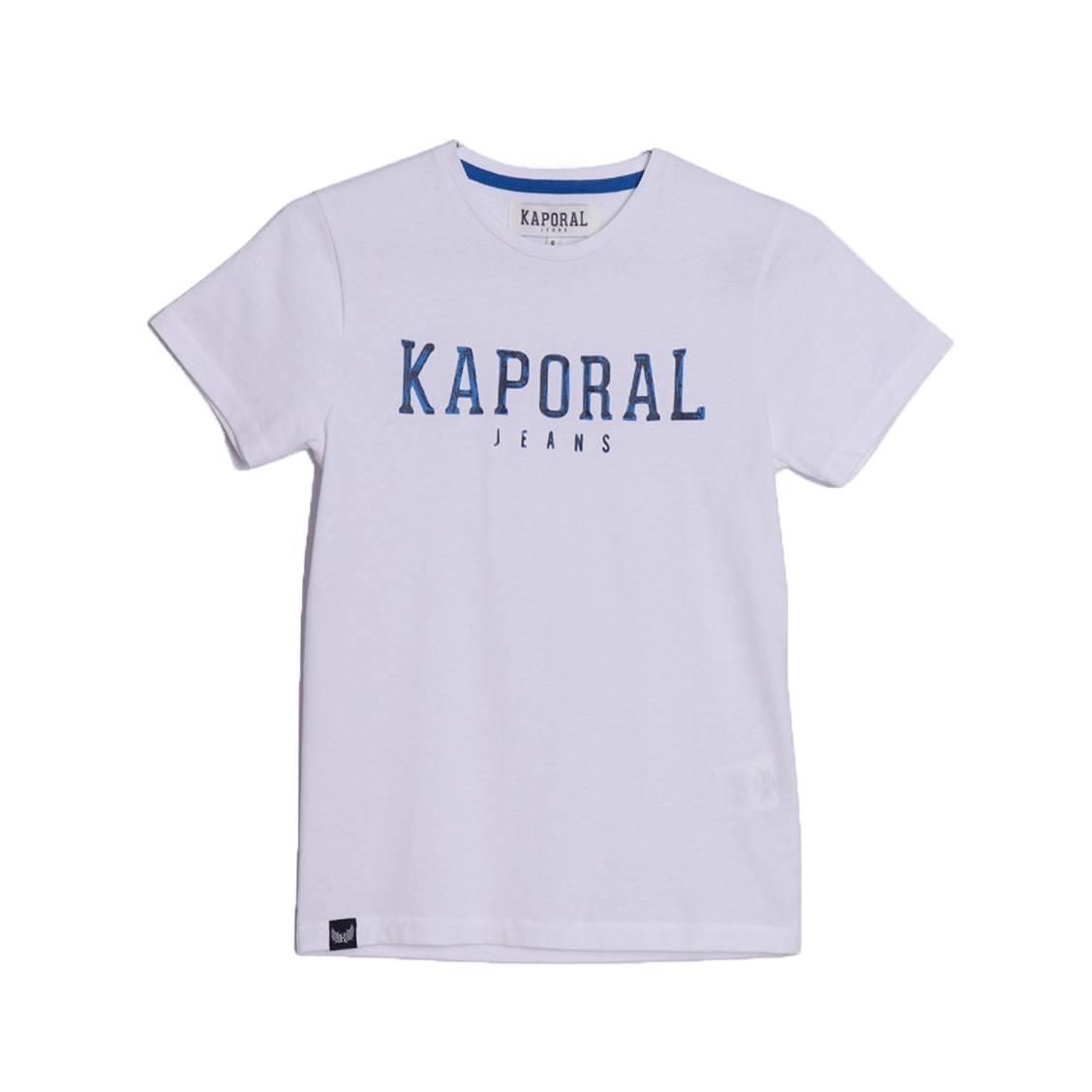 Tee-shirt col rond  arona en coton blanc floqué