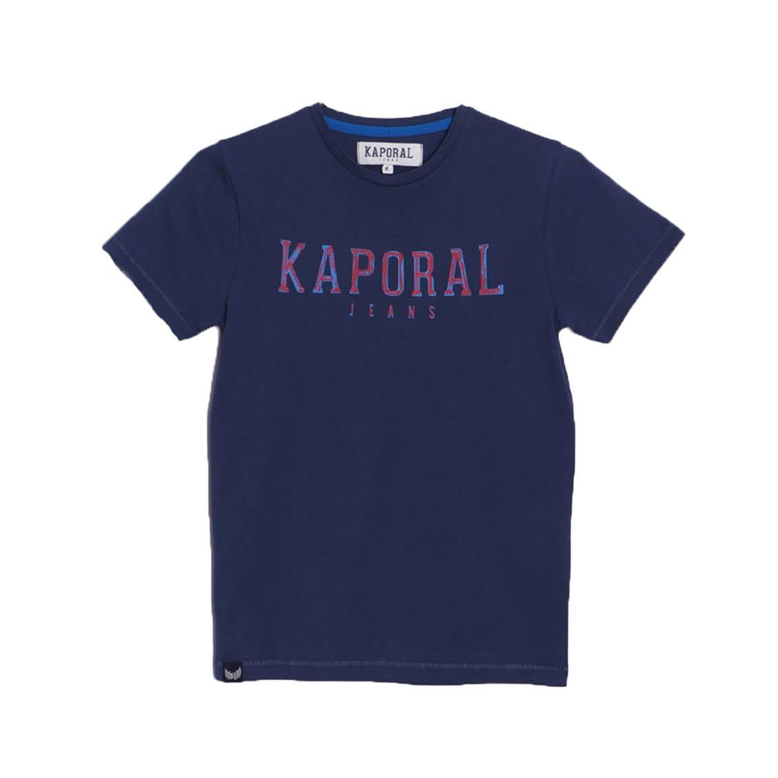 Tee-shirt col rond  arona en coton bleu marine floqué