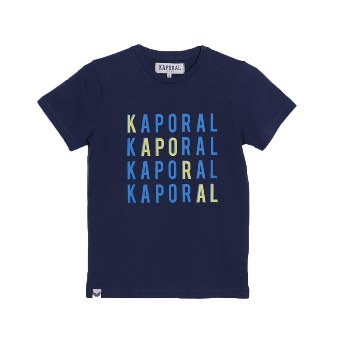 Tee-shirt col rond  asper en coton bleu marine floqué