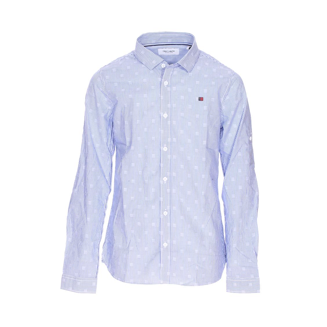 Chemise  clik en coton bleu denim à rayures blanches et motifs carrés blancs
