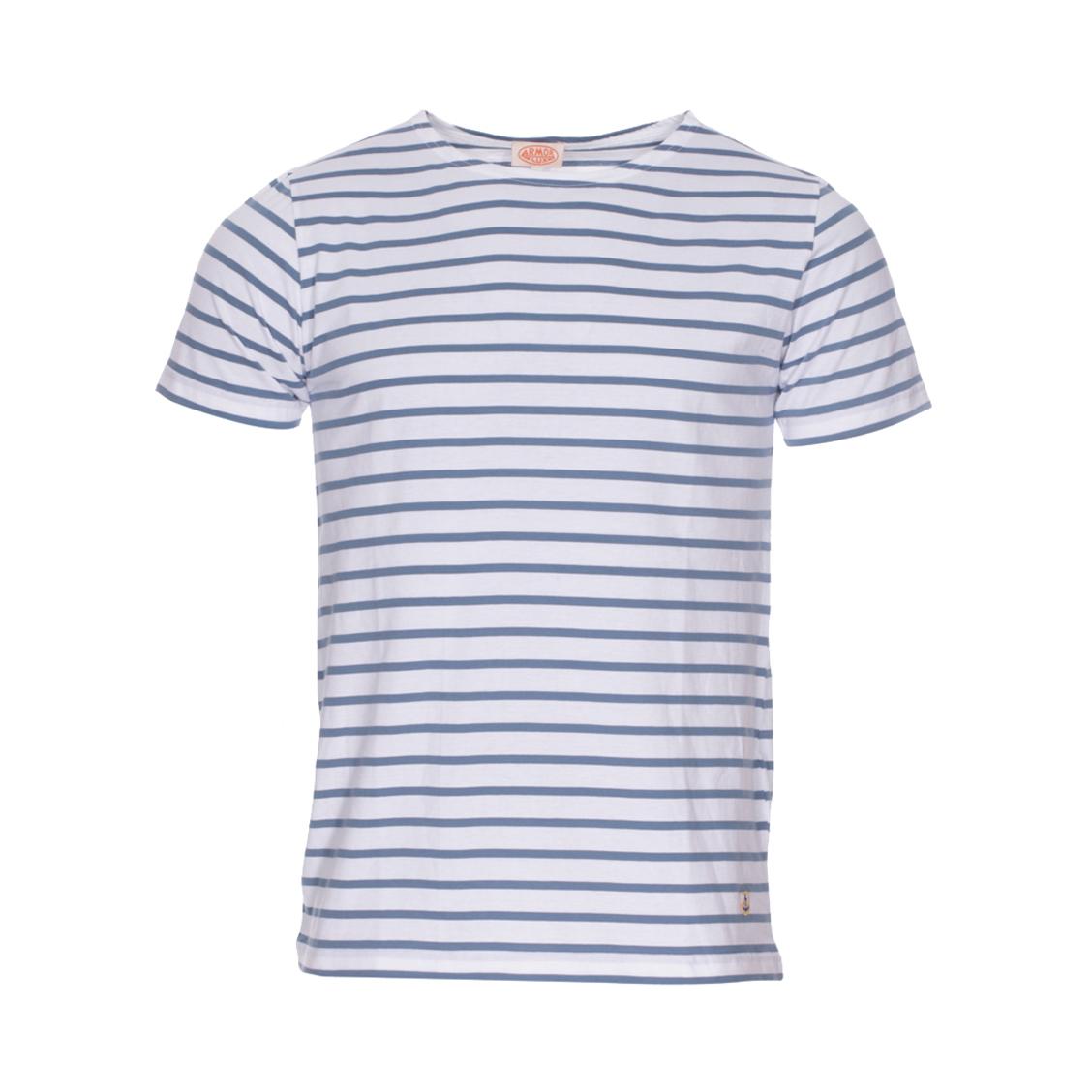 . - Coton (100%) - A rayures blanches et bleu indigo - Manches courtes