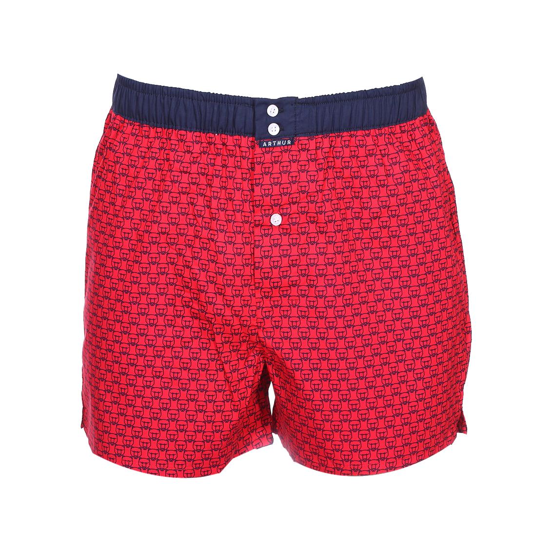 Caleçon club  coupe américaine en coton rouge à motifs têtes d\'ours bleu marine