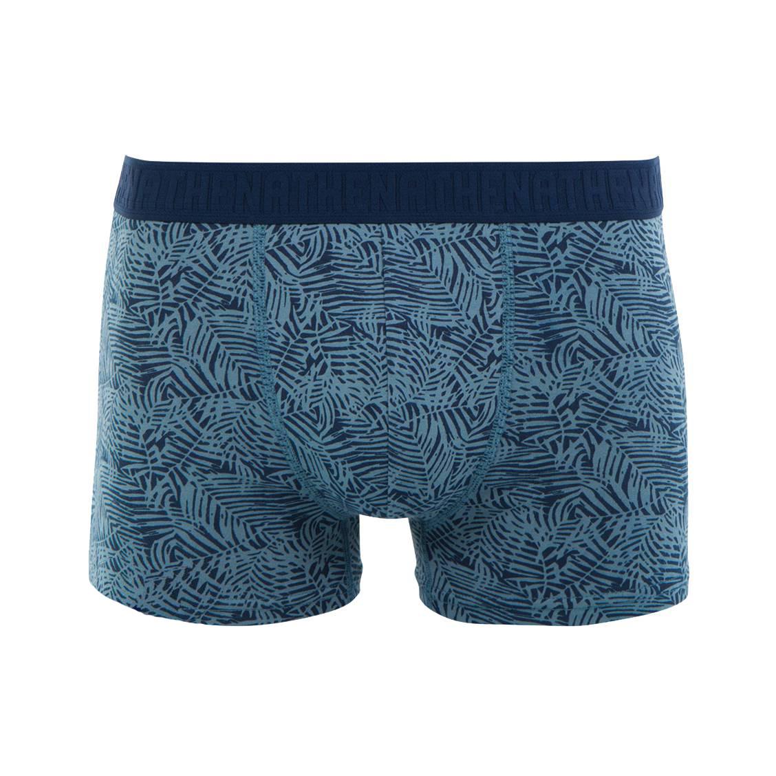Boxer  en coton stretch bleu marine à imprimé feuillage bleu acier