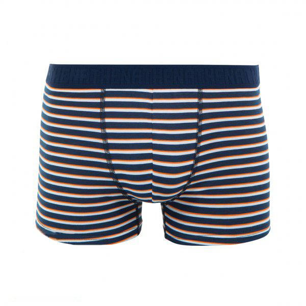 Boxer  en coton stretch bleu marine à rayures orange et blanches