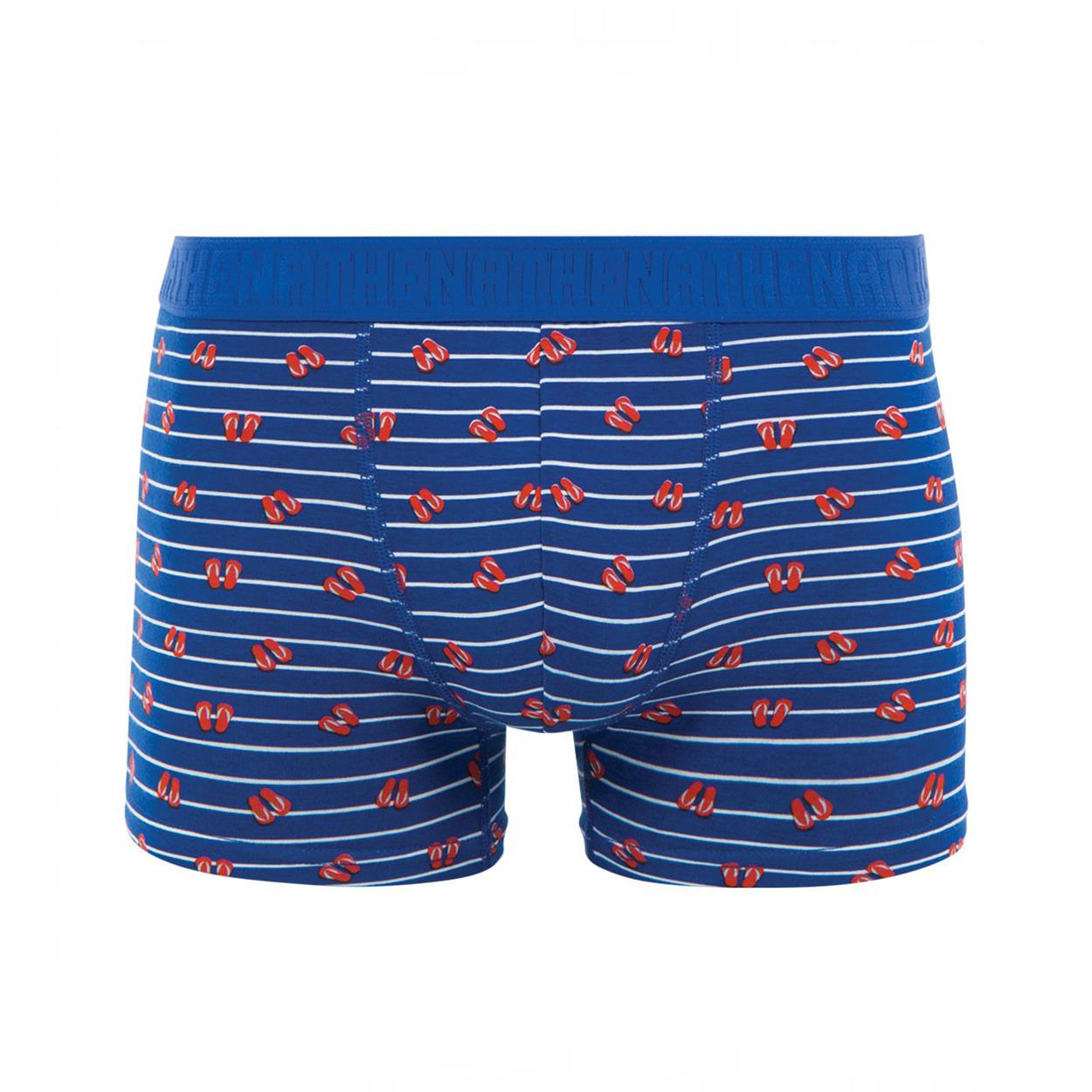Boxer  en coton stretch bleu pétrole à rayures blanches et tongs rouges