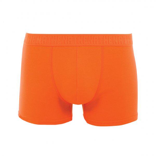 Boxer  en coton stretch orange brodé ton sur ton à la ceinture