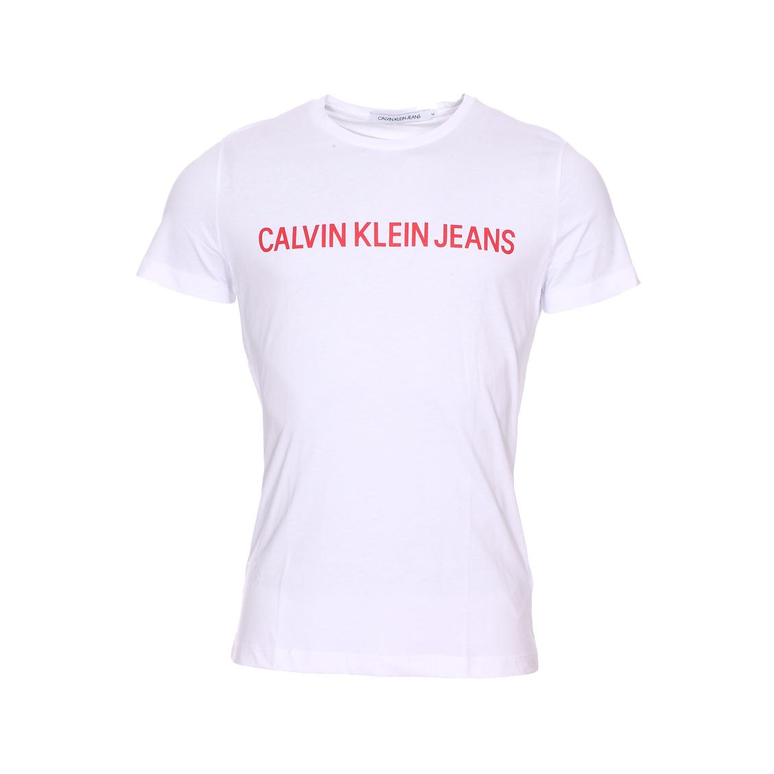Tee-shirt col rond  institutional logo slim en coton blanc floqué