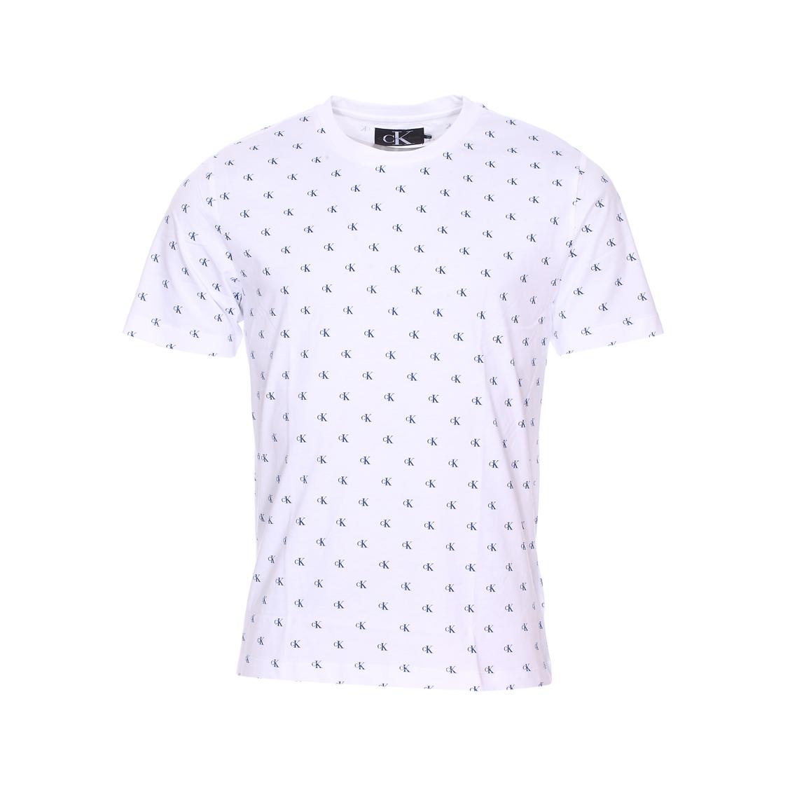 Tee-shirt col rond  monogram aop regular en coton blanc monogrammé en bleu marine