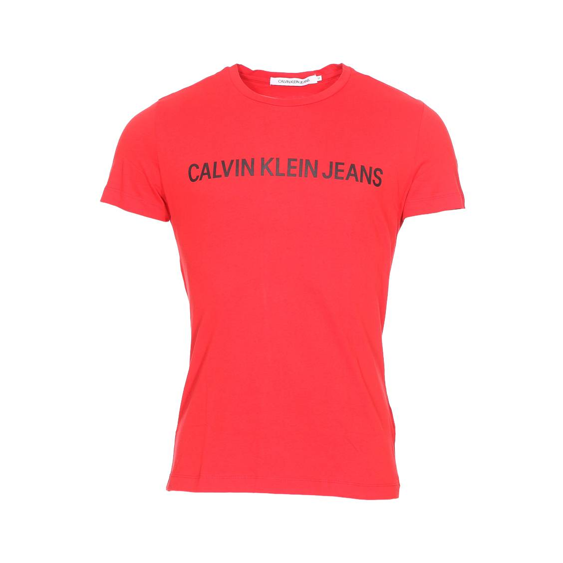 Tee-shirt col rond  institutional logo slim en coton rouge floqué