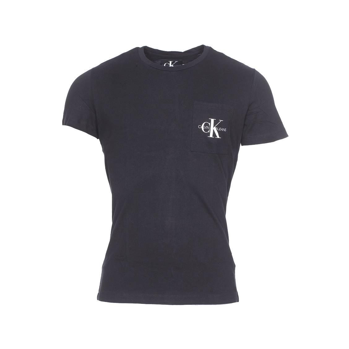 Tee-shirt col rond  monogram pocket slim en coton noir à détail poche floqué