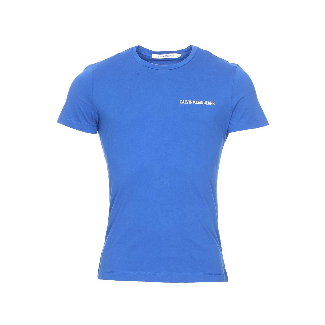 Tee-shirt col rond  chest institutional en coton bleu méditerranée floqué