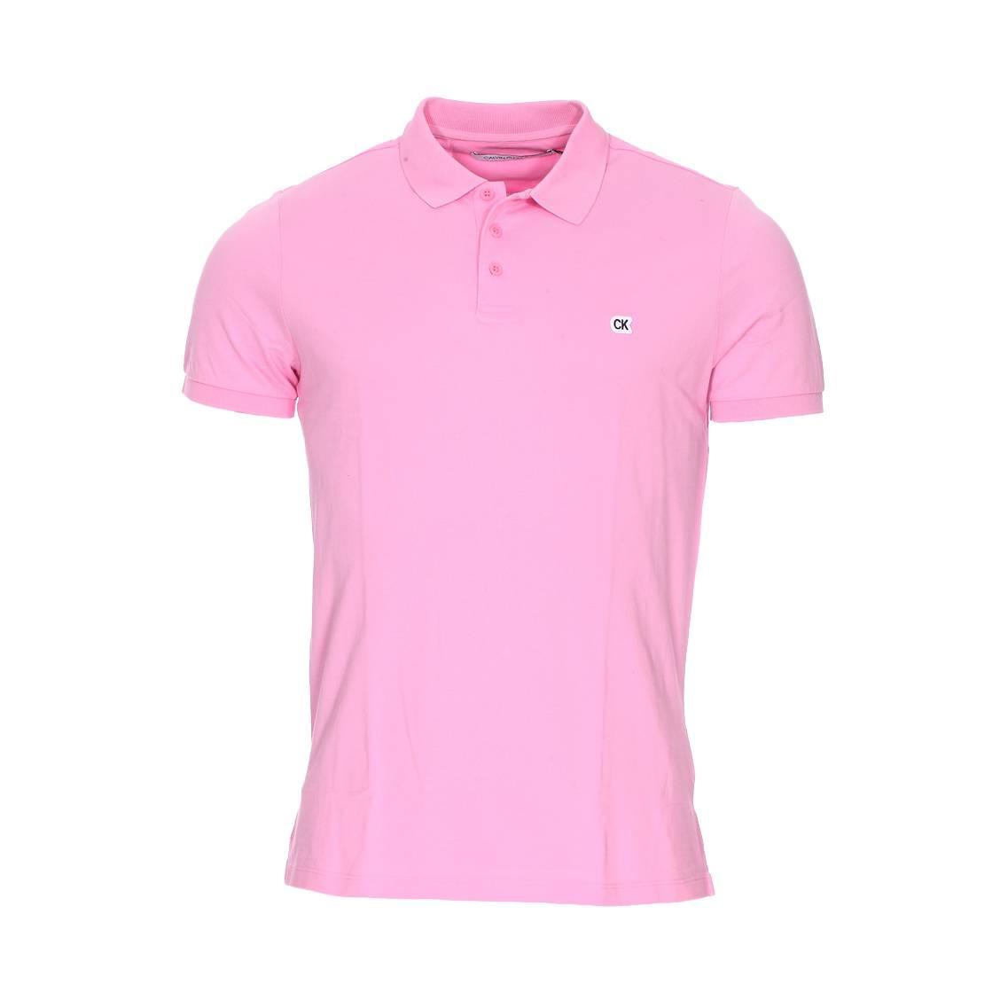 Polo Calvin Klein Jeans Logo en piqué de coton rose ... bd8a4242cd1