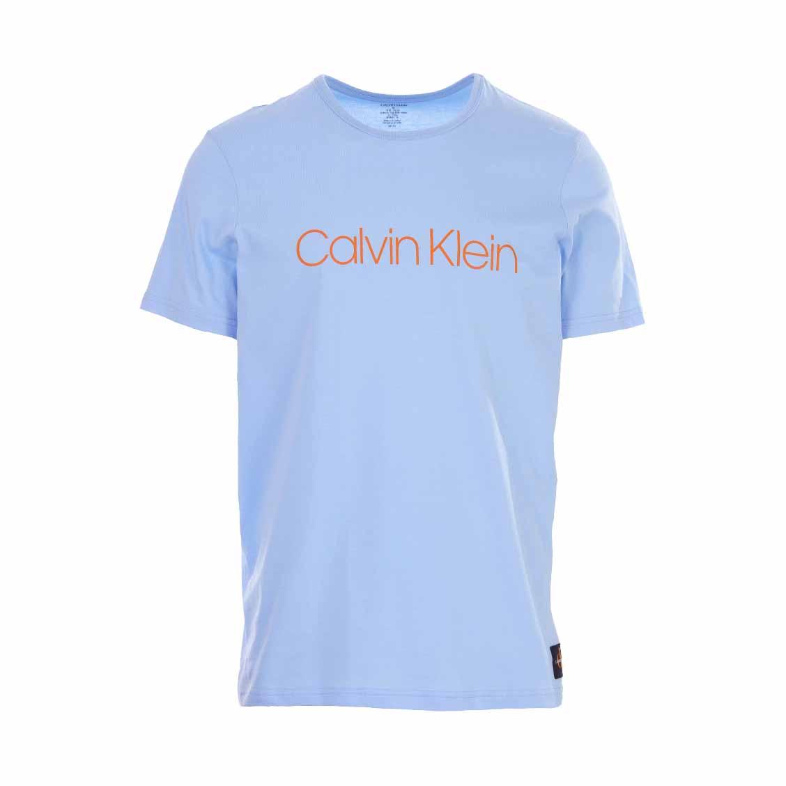 Tee-shirt col rond calvin klein en coton bleu ciel floqué en orange