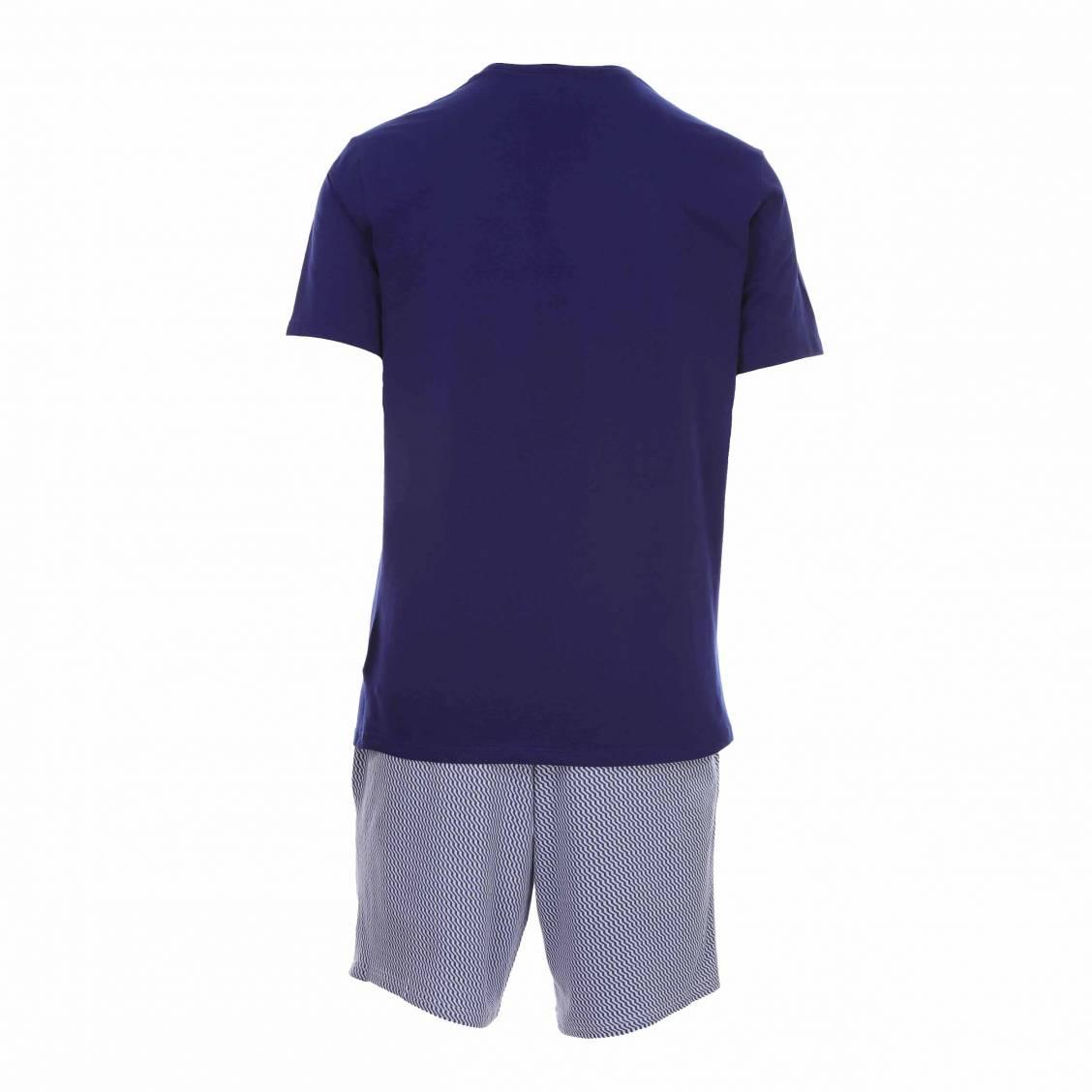 052e4fbd955 ... Pyjama court Calvin Klein en coton stretch   tee-shirt col rond bleu  pétrole et ...