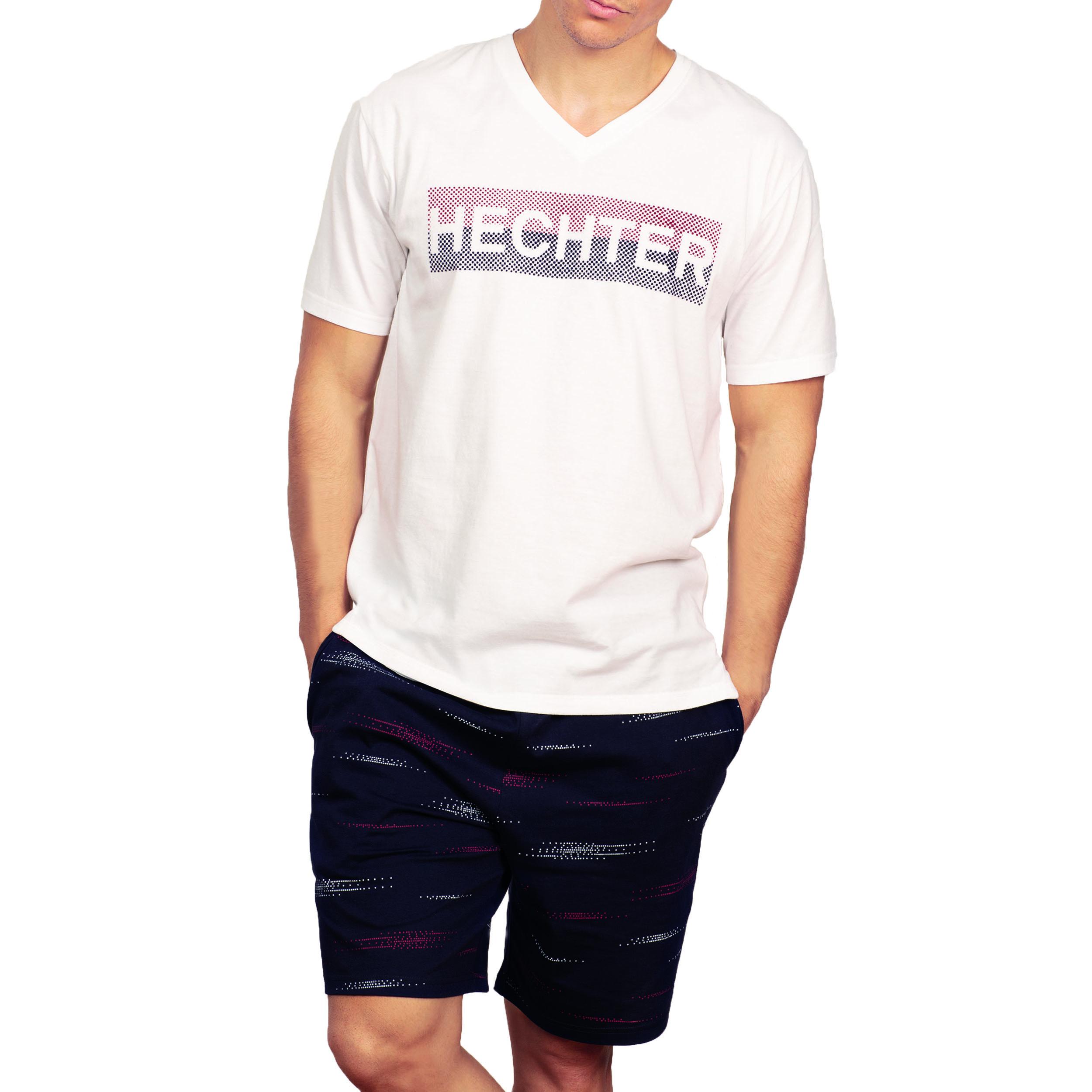 Pyjama court Hechter Studio en coton : tee-shirt col V blanc et short bleu marine floqué