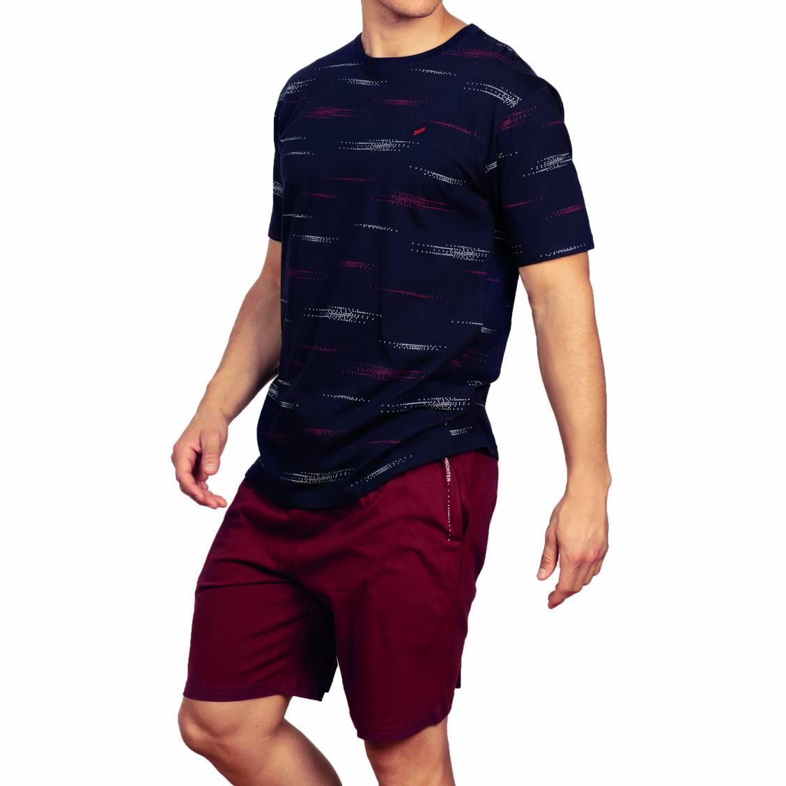 Pyjama court Hechter Studio en coton : tee-shirt col rond en coton bleu marine et short bordeaux