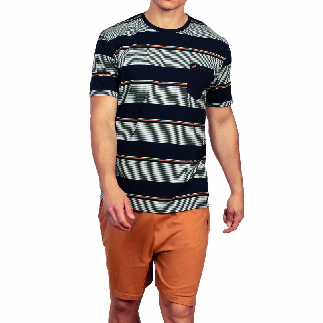 Pyjama court Hechter Studio en coton : tee-shirt col rond bleu marine rayé et short marron