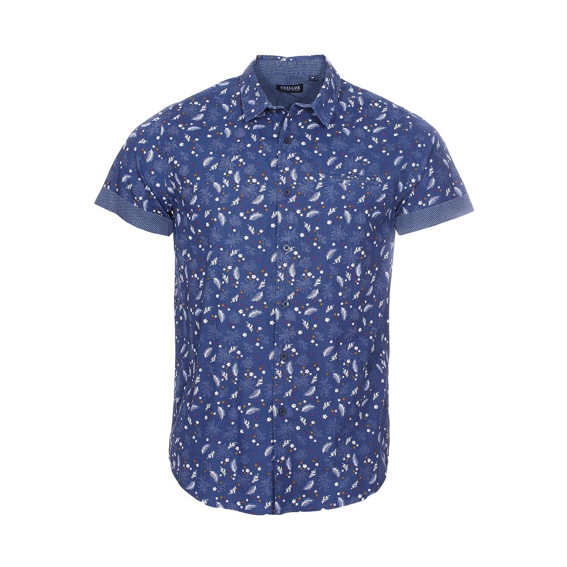 Chemise ajustée manches courtes  botanic en coton bleu marine à motifs floraux blancs, marron et rouges