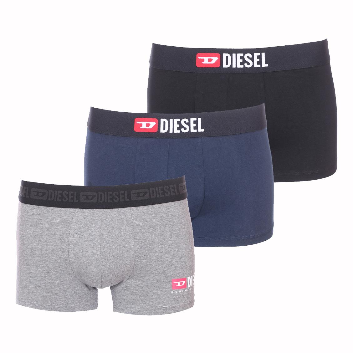 Lot de 3 boxers diesel damien en coton stretch noir, bleu marine et gris chiné