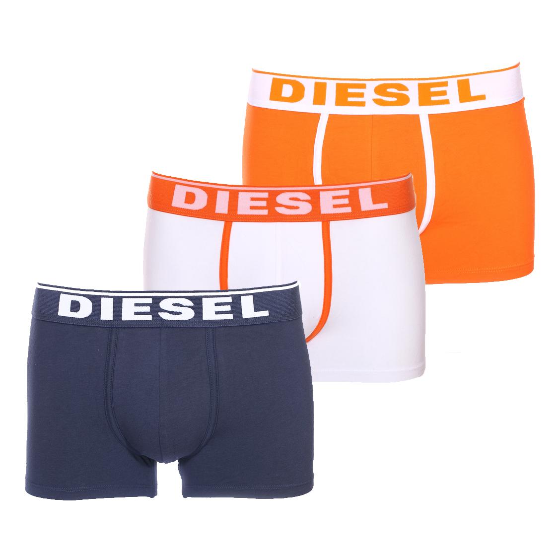 Lot de 3 boxers diesel en coton stretch bleu, blanc et orange