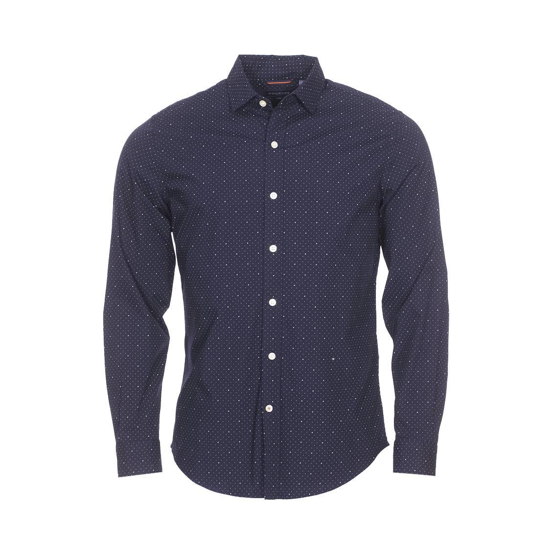 Chemise ajustée  refined en coton stretch bleu marine à croix et pois blancs