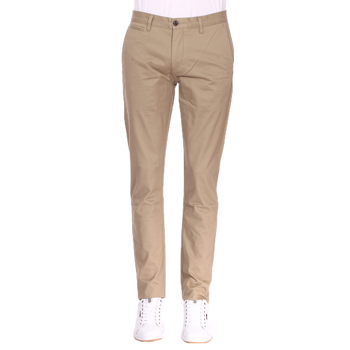 Pantalon  original slim tapered en sergé de coton stretch beige