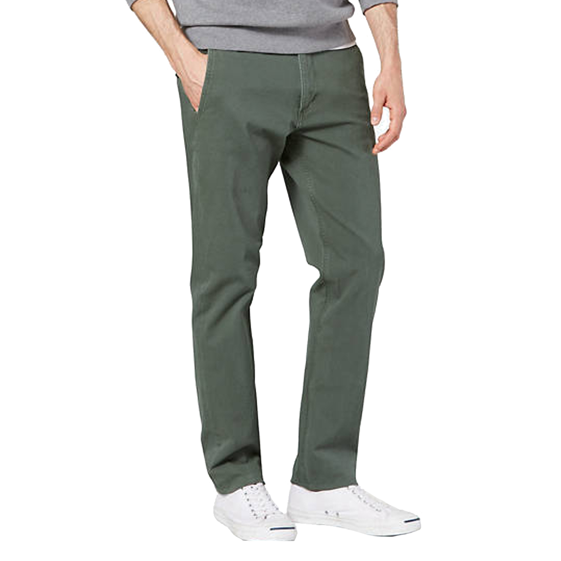 Pantalon chino  smart 360 flex alpha en coton stretch vert kaki
