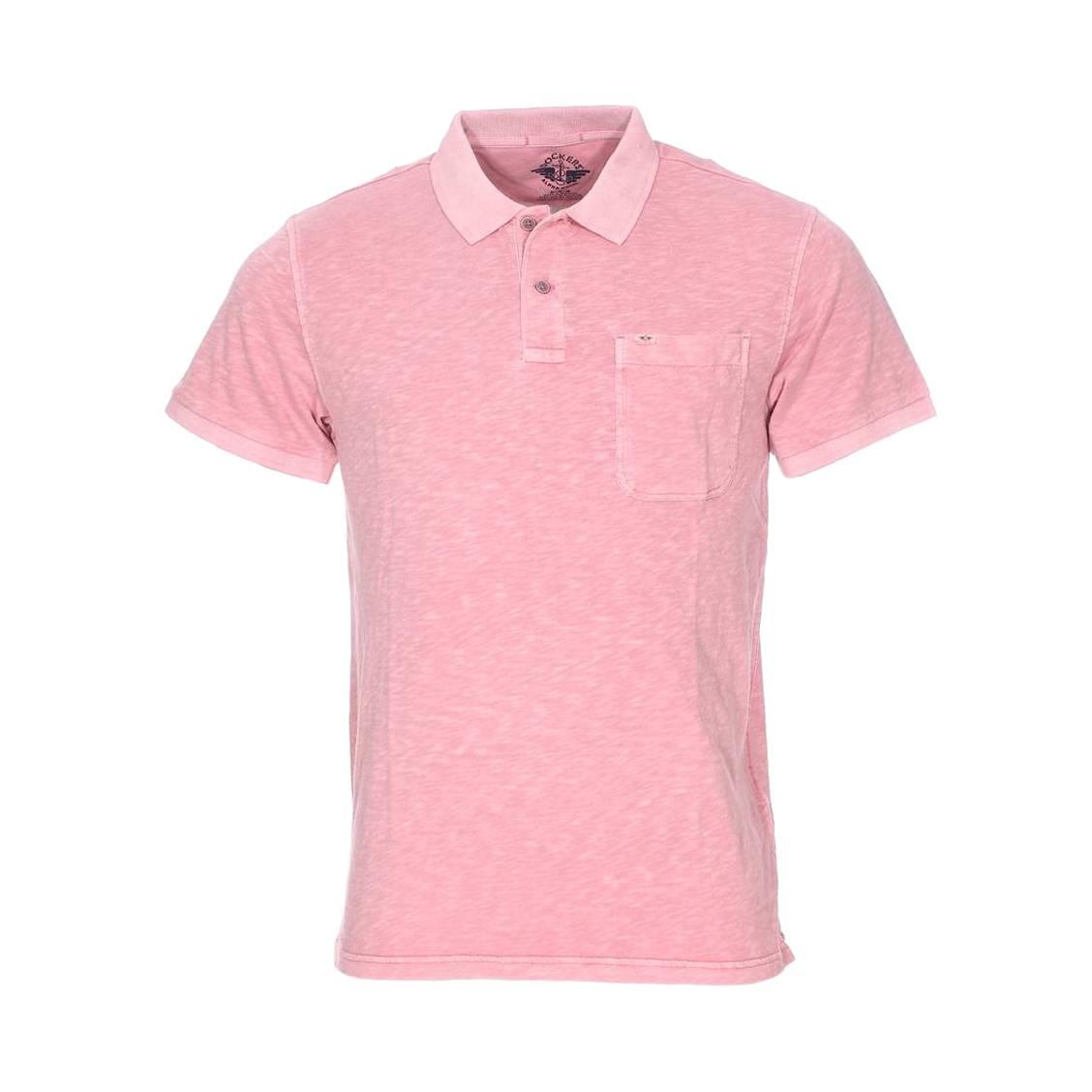 Polo  alpha en coton rose flammé