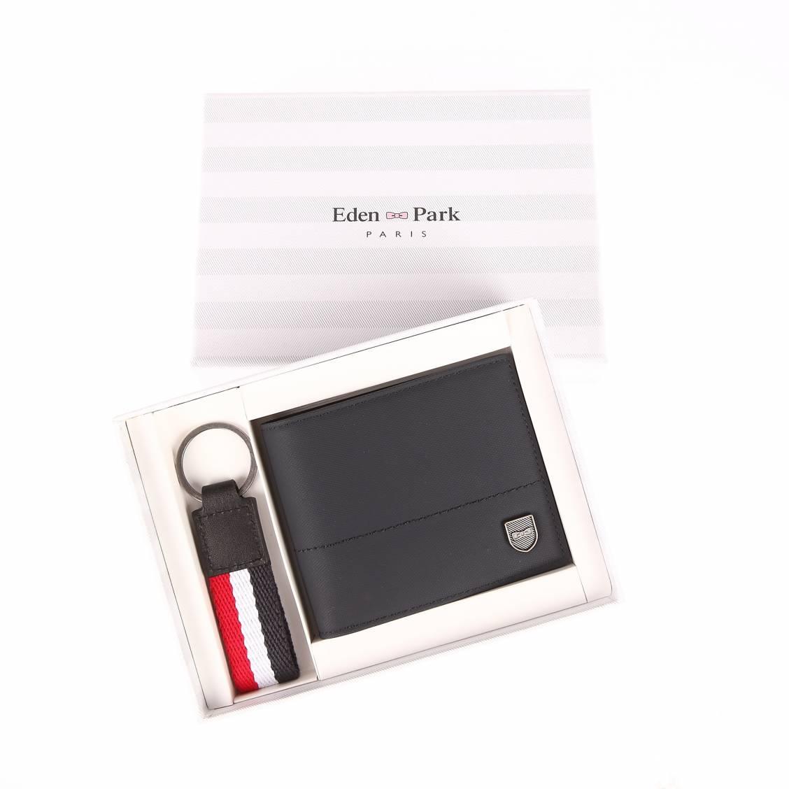 Coffret cadeau  canberra : portefeuille italien 2 volets en toile enduite bleu marine et porte-clefs tricolore