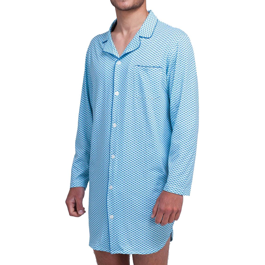 Liquette  col chemise en coton bleu turquoise à motifs graphiques