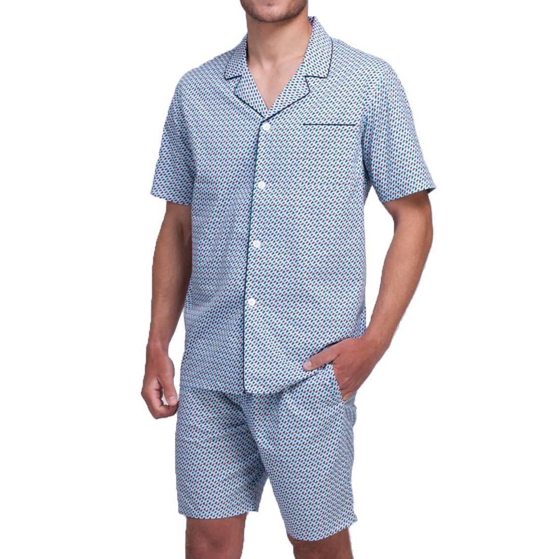 Pyjama court Eminence : chemisette et short en coton bleu à imprimés graphiques