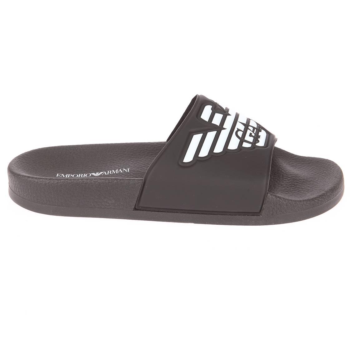Sandales  noire à logo blanc