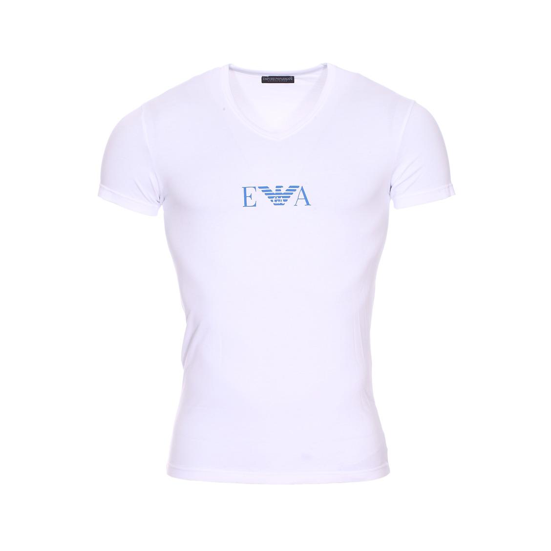 Tee-shirt col v  en coton stretch blanc floqué du logo en bleu roi