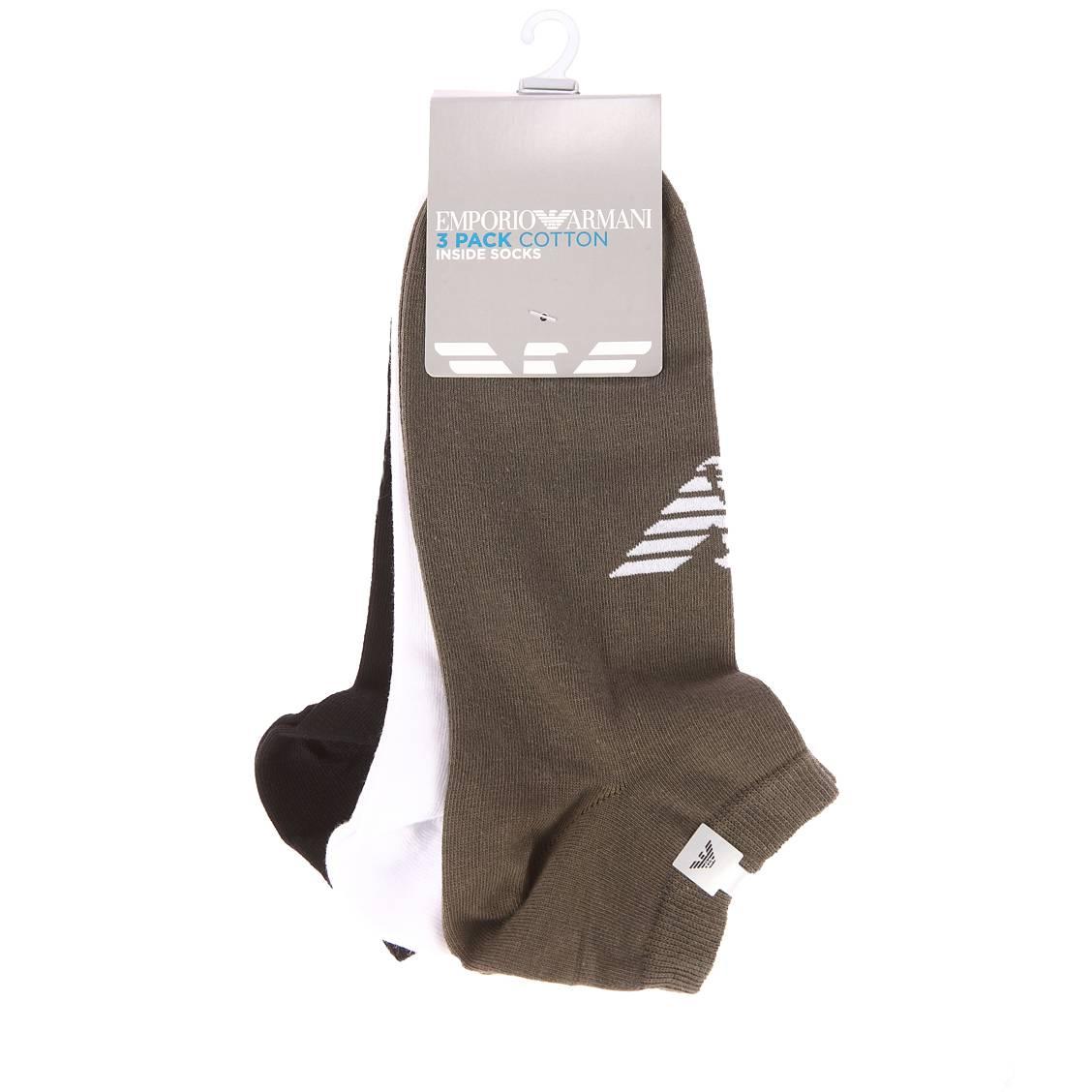 Lot de 3 paires de soquettes  noires, blanches et vert kaki