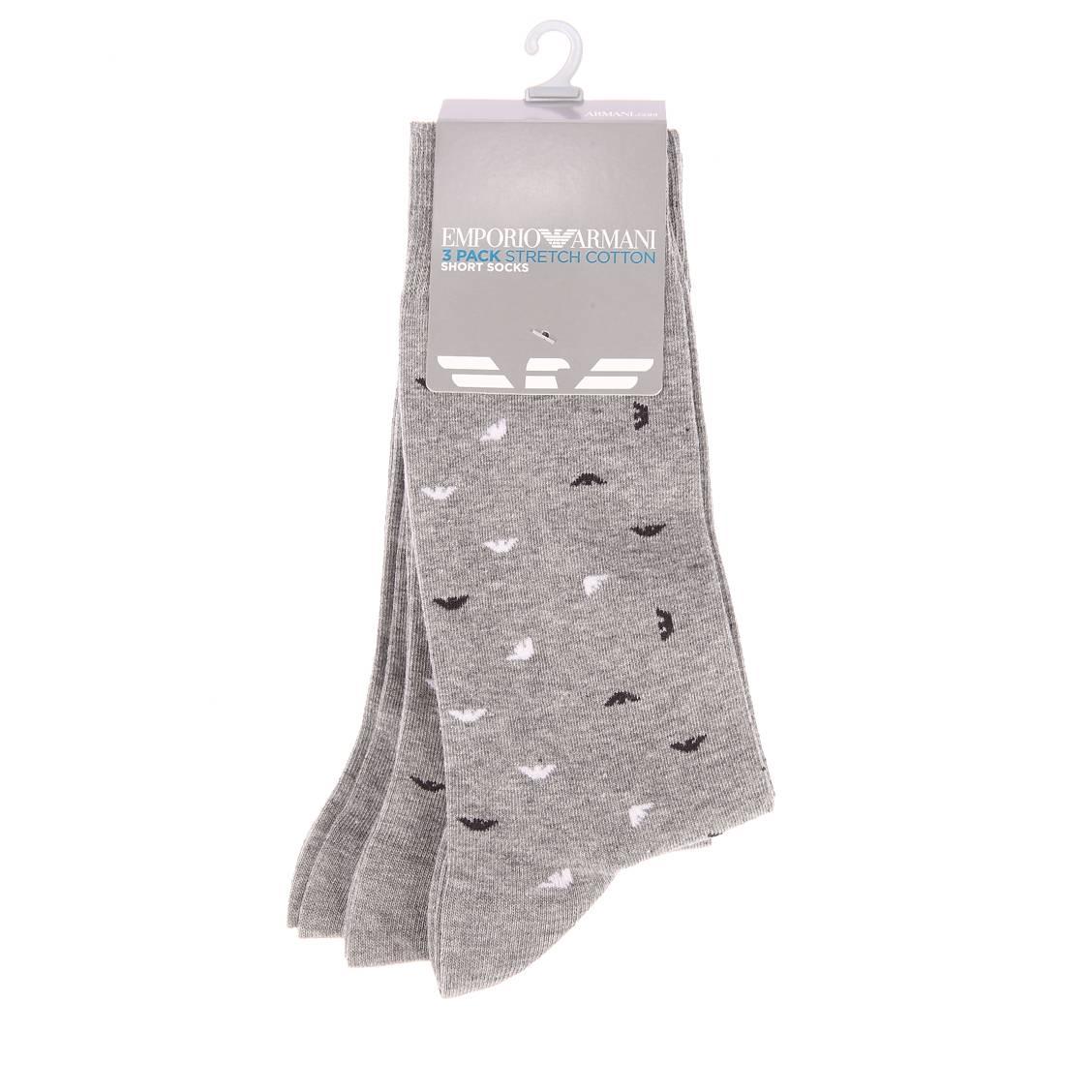Lot de 3 paires de chaussettes  gris chiné et gris chiné logotypées en noir et blanc