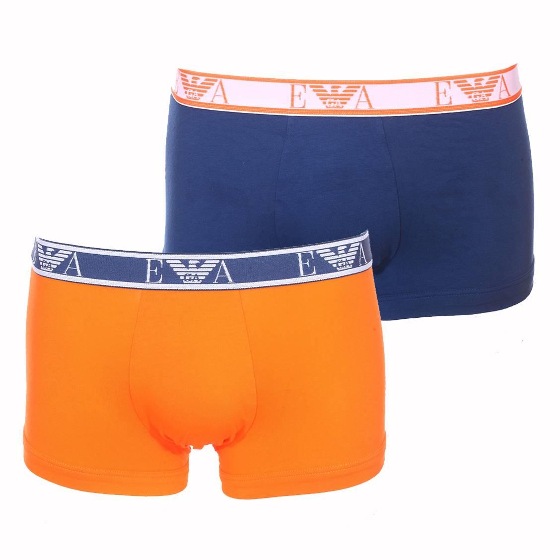 Lot de 2 boxers  en coton stretch bleu pétrole et orange