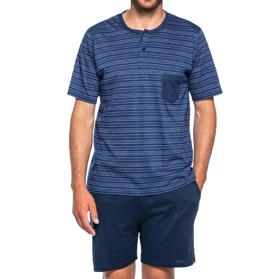 Pyjama court Guasch en coton : tee-shirt col tunisien bleu marine à fines rayures fantaisie blanches et short bleu marine