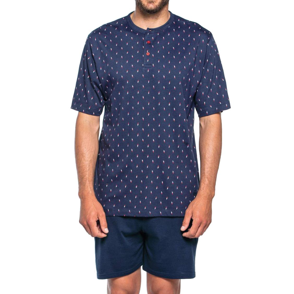 Pyjama court Guasch en coton : tee-shirt col tunisien bleu marine à motifs blancs et rouges et short bleu marine uni