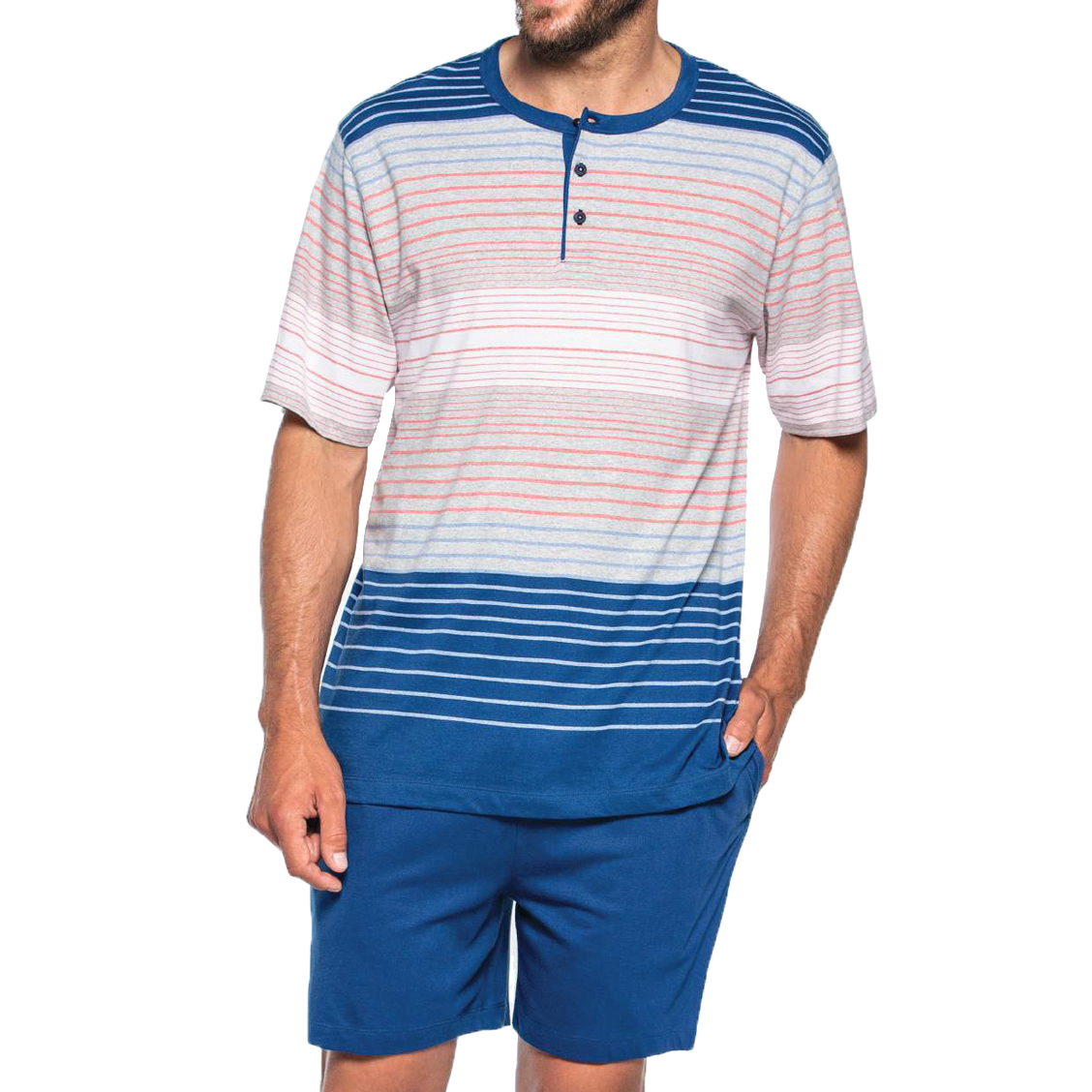Pyjama court Guasch en coton : tee-shirt col tunisien à rayures horizontales et short bleu pétrole