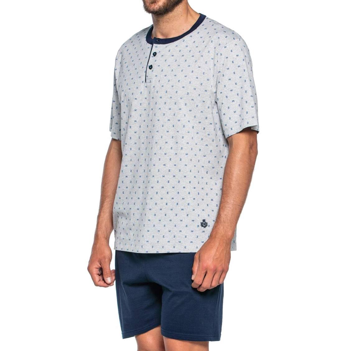 Pyjama court Guasch en coton : tee-shirt col tunisien gris à motifs bleus et short bleu marine