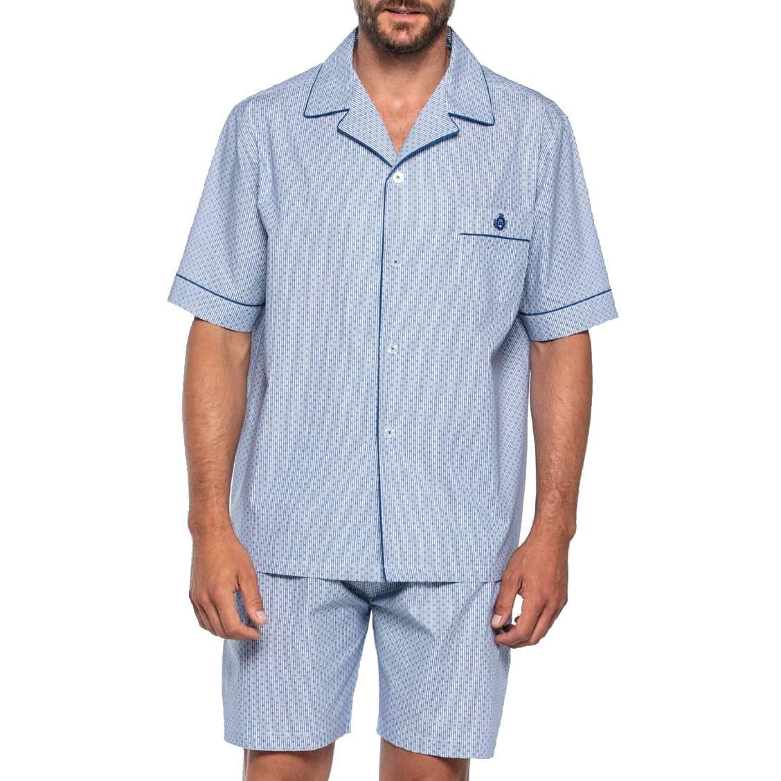 Pyjama court Guasch en popeline de coton : veste manches courtes boutonnée et short à fines rayures blanches et bleues et micro motifs noirs