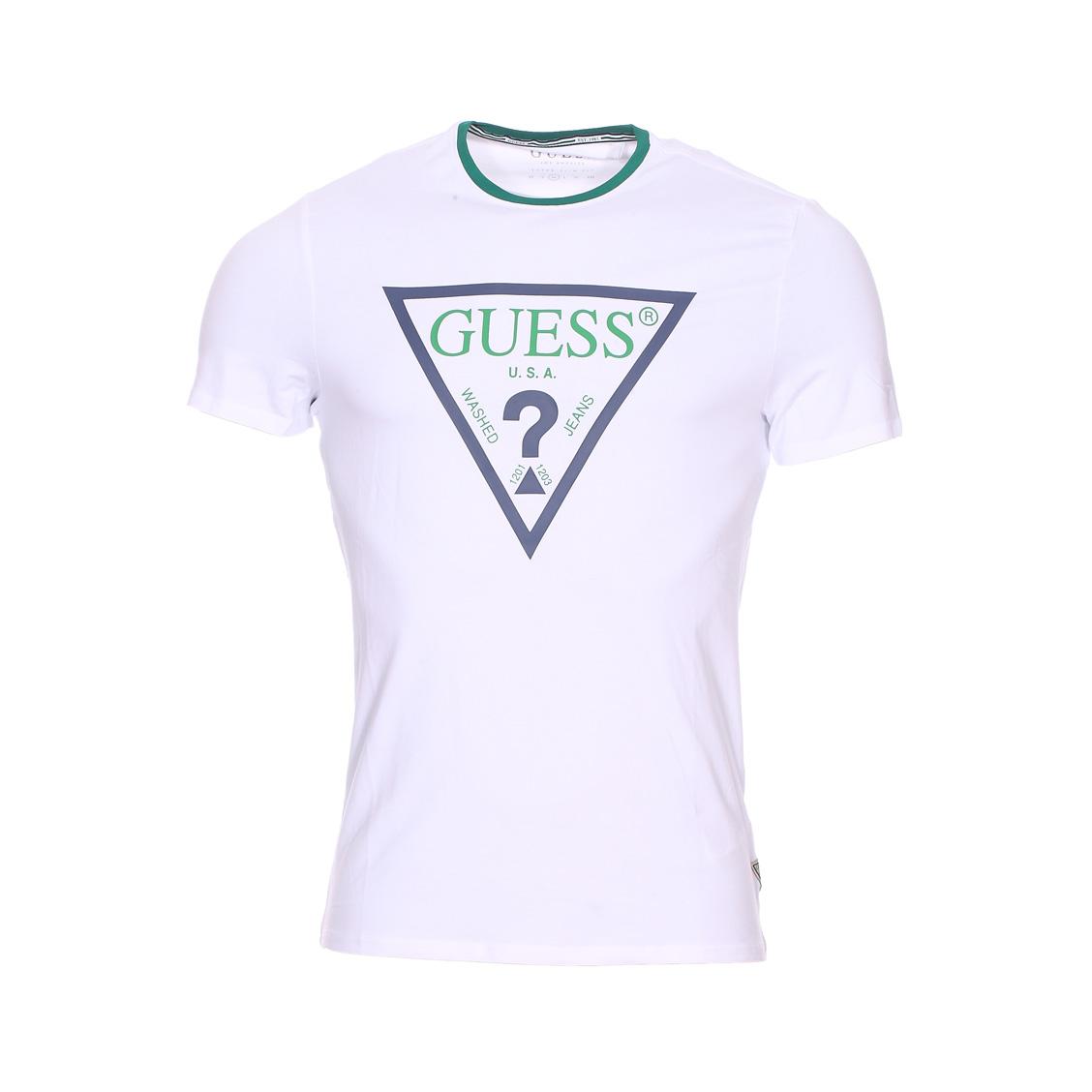 Tee-shirt col rond guess club en coton stretch blanc floqué en vert et bleu marine