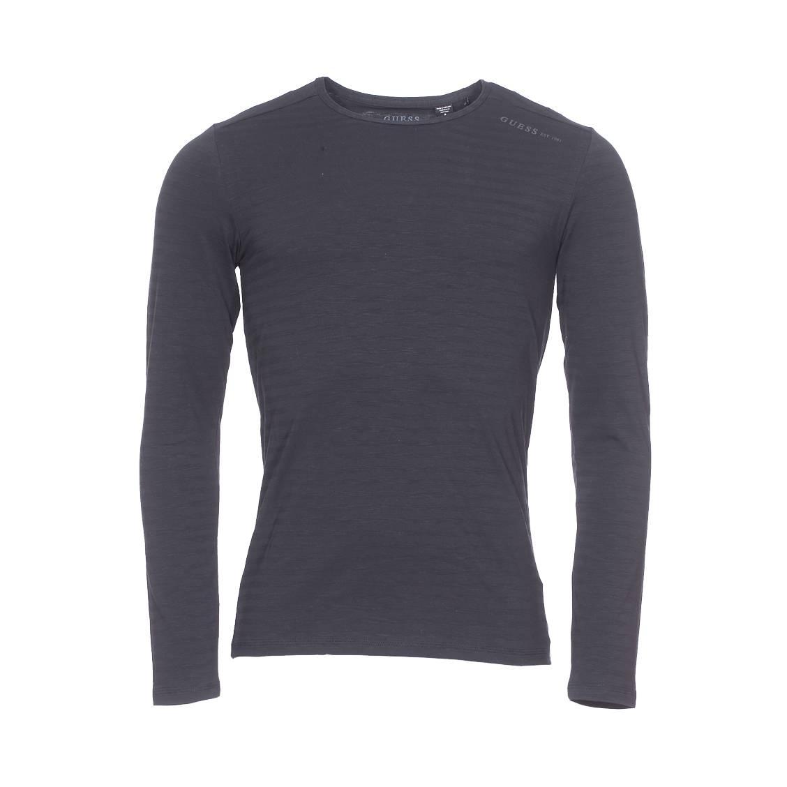 Tee-shirt col rond manches longues guess en coton stretch noir à rayures ton sur ton