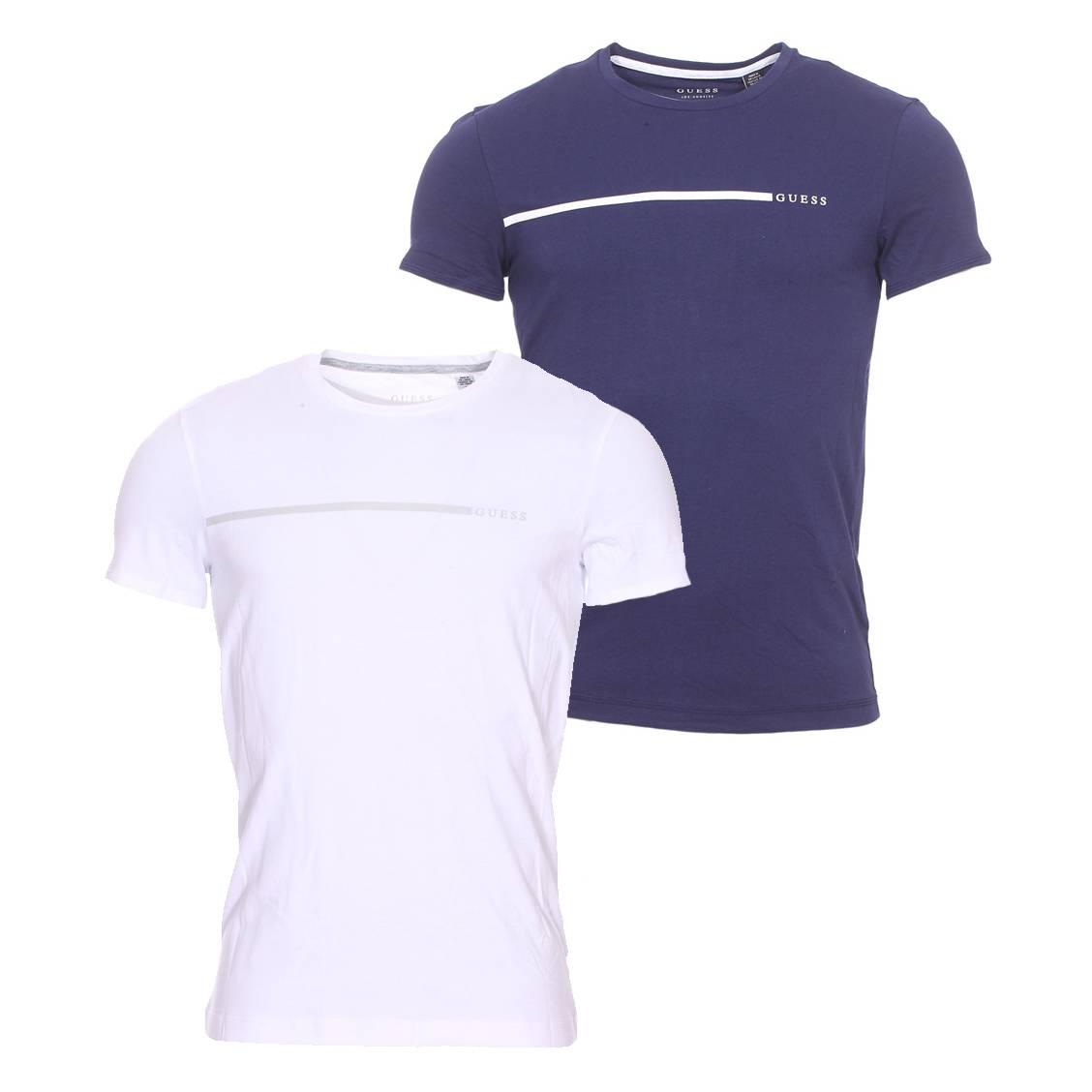 Lot de 2 tee-shirts col rond guess en coton blanc et bleu marine