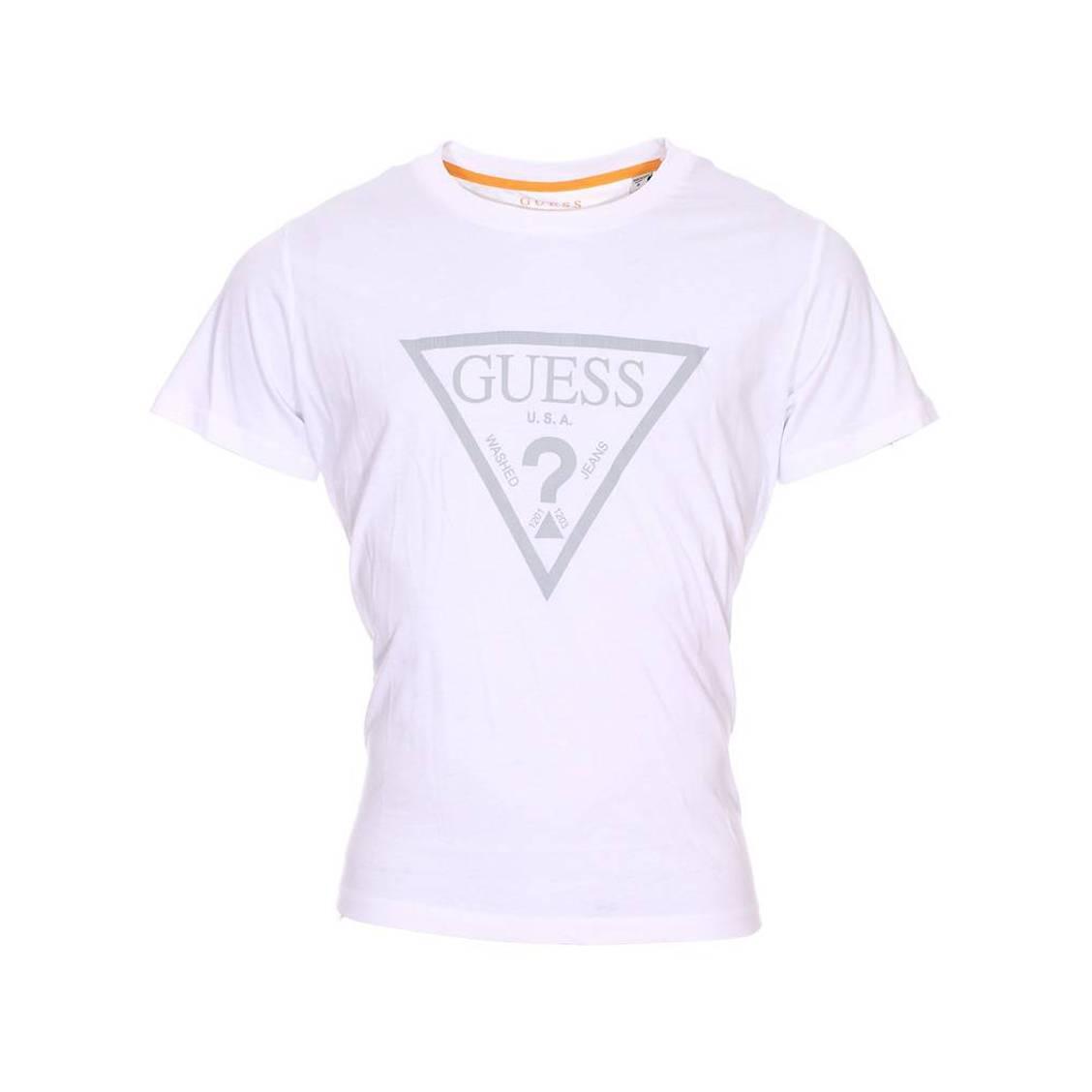 Tee-shirt col rond guess en coton blanc floqué en gris