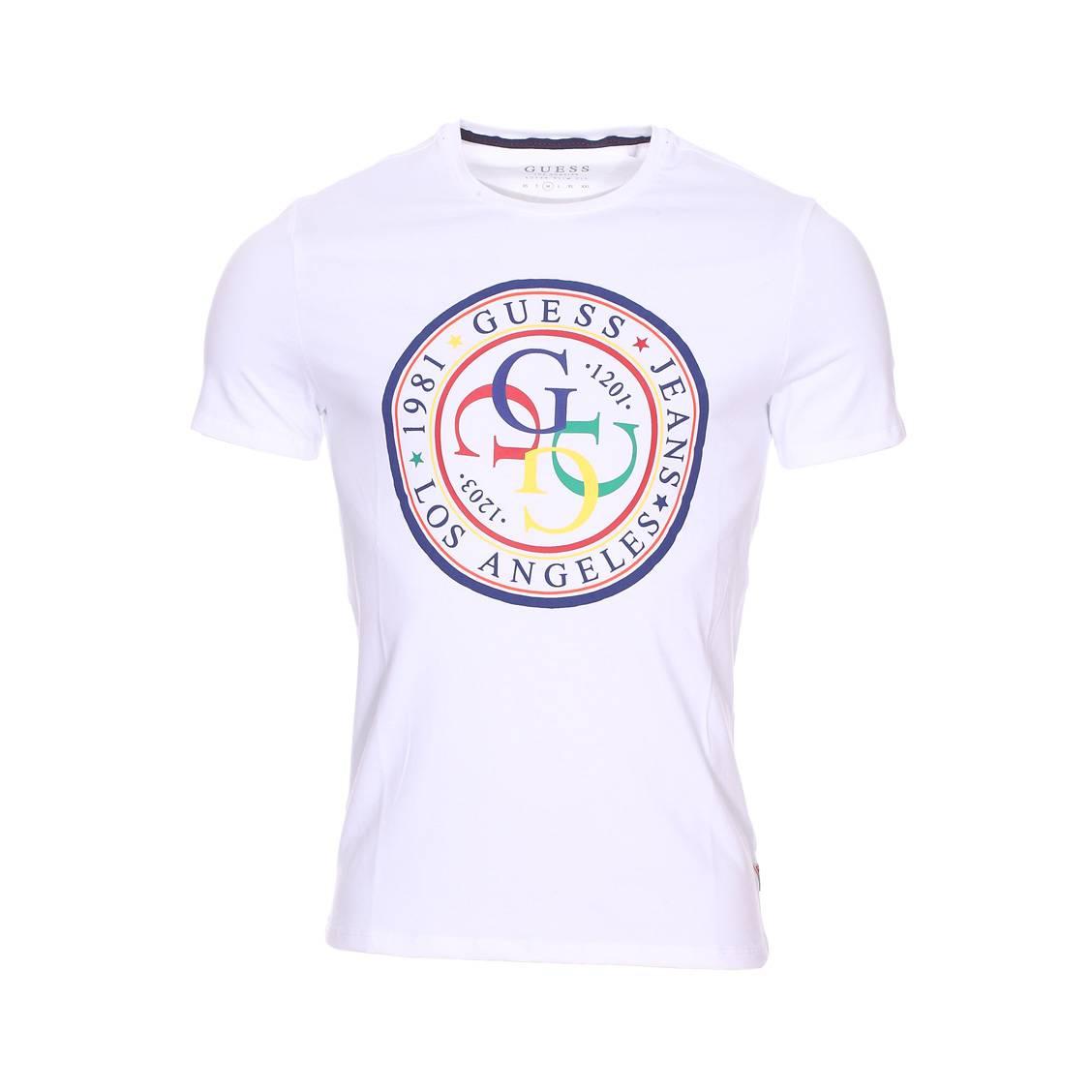 Tee-shirt col rond guess colorful en coton blanc floqué