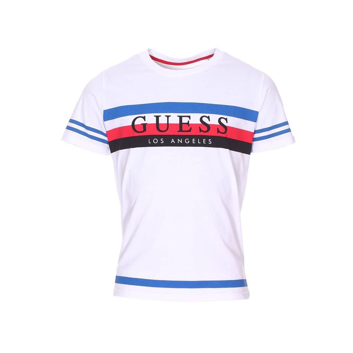 Tee-shirt col rond guess en coton blanc à rayures bleu roi, rouge et noire