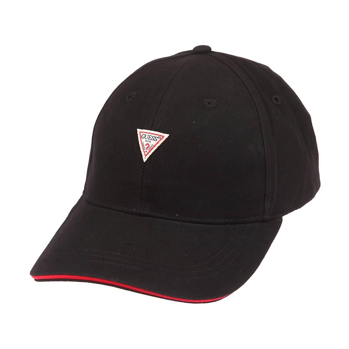 Casquette guess baseball original en coton noir à liseré rouge sur la visière